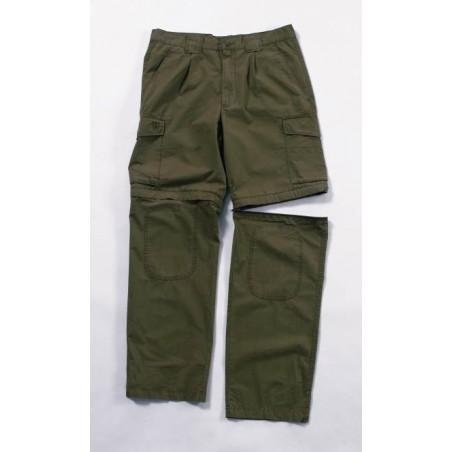 Pantalon convertible safari zippé vert